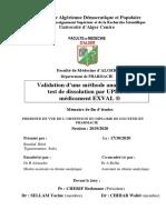 Validation d'Une Méthode Analytique Du Test de Dissolution Par UPLC Du Médicament EXVAL