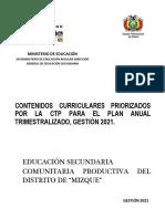 CONTENIDOS  CURRICULARES PRIORIZADOS SECUNDARIA