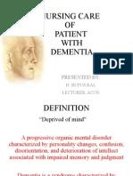 Nursing care of patient with Dementia