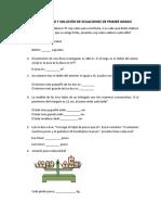 PLANTEAMIENTO Y SOLUCIÓN DE ECUACIONES DE PRIMER GRADO (EJERCICIOS ALUMNOS)