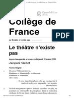 (Sur Les Assiettes)Le Théâtre n'Existe Pas Collège de France