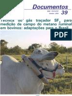 Tecnica do gas tracados SF6 para medicao de campo do metano ruminal em bovinos adaptacoes para Brasil