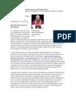 Mensaje del Santo Padre para la Cuaresma 2011