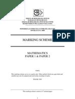 PMR Percubaan 2008 SBP Mathematics Answers