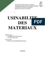 l'usinabilité des matériaux