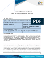 Syllabus de Curso Diseño Industrial y de Servicios