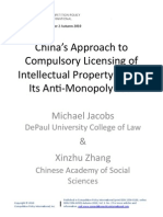 China's Approach To Compulsory Licensing Of Intellectual Property Under Its Anti‐Monopoly Law