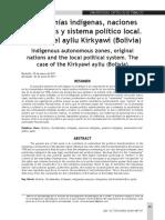 Autonomías indígenas, naciones originarias y sistema político local. El caso del ayllu Kirkyawi (Bolivia)