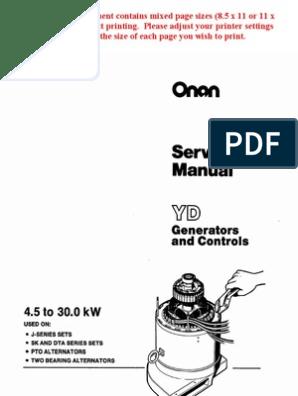 Onan Service Manual YD Generators and Controls 900-0184 | Electric