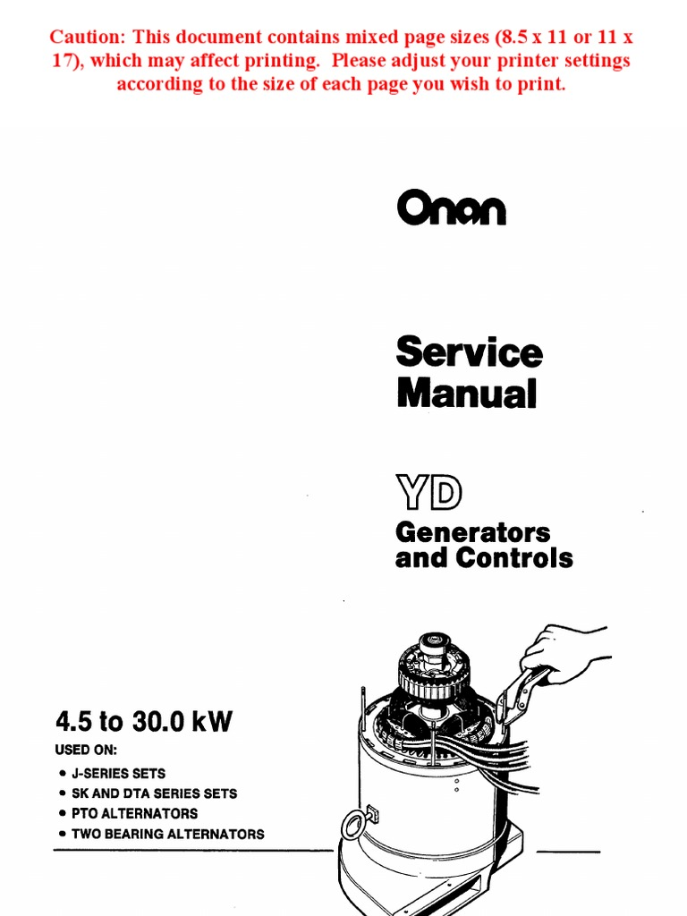 Onan Service Manual Yd Generators And Controls 900