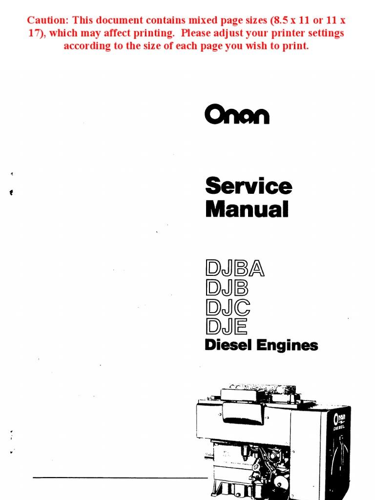 Onan Service Manual DJBA DJB DJC DJE Diesel Engines 967-0751 | Internal  Combustion Engine | Exhaust Gas