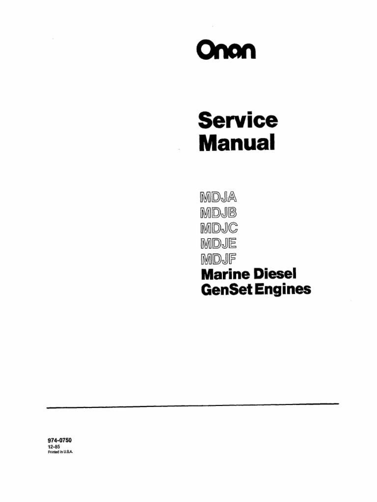 Onan Service Manual MDJA MDJB MDJC MDJE MDJF Marine Diesel
