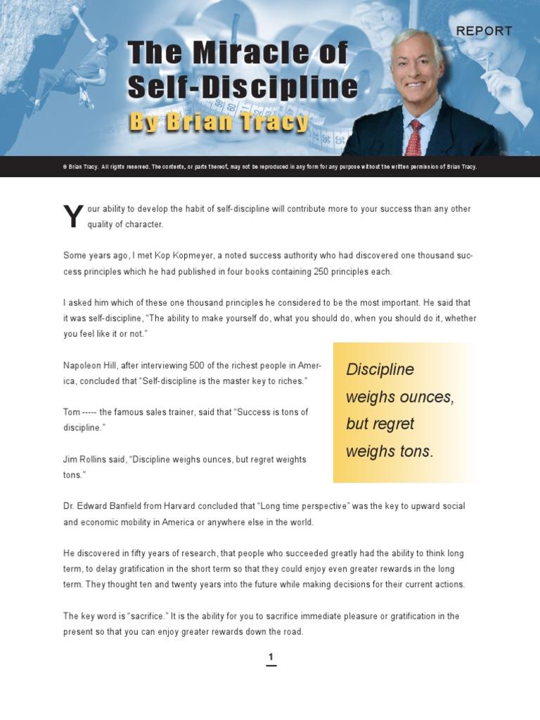 Workbooks success principles workbook : MiracleofSelfDisciplineReport_BrianTracy | Self Esteem ...