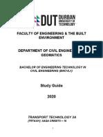 Transport Technology 3A 2019 Study Guide (1)