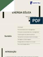 Fontes Renováveis - Energia Eólica Slides