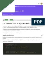 Les blocs de code et la portée d'une variable - Apprenez à développer en C# - OpenClassrooms_1604839385164