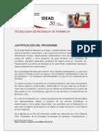 Justificacion Tecnologia en Regencia de Farmacia Cread Barranquilla Universidad Del Tolima