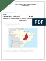 AVALIAÇÃO GEOGRAFIA E HISTÓRIA DIA 05 DE ABRIL DE 2021 4 ANO