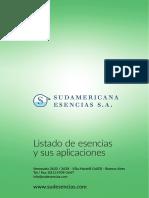 Listado de Esencias de Sudamericana Esencias SA
