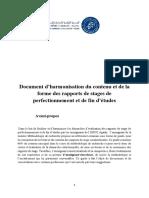 Document d'hrmonisation de rédaction des projets de stages