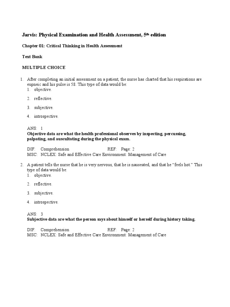 Jarvis Physical Examination Health Assessment Chap_01