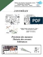 Précision - Théorie Des Erreurs - Tolérances - Cours Complet - V2