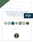 ADMINISTRATION'S WHITE PAPER ON INTELLECTUAL PROPERTY ENFORCEMENT LEGISLATIVE RECOMMENDATIONS