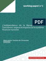 L'Independance de La Banque Centrale Tunisienne