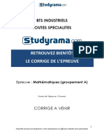 BTS Industriel Corrige Mathematiques Groupement A