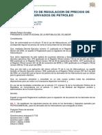 REGLAMENTO DE REGULACION DE PRECIOS DE DERIVADOS DEL PETROLEO