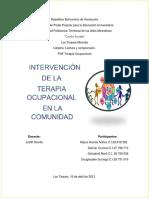 Intervenciòn de La Terapia Ocupacional en La Comunidad