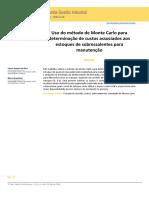 2019 - Silva, Brandalise - Uso Do Método de Monte Carlo Para Determinação de Custos Associados Aos Estoques de Sobressalentes Para Manut