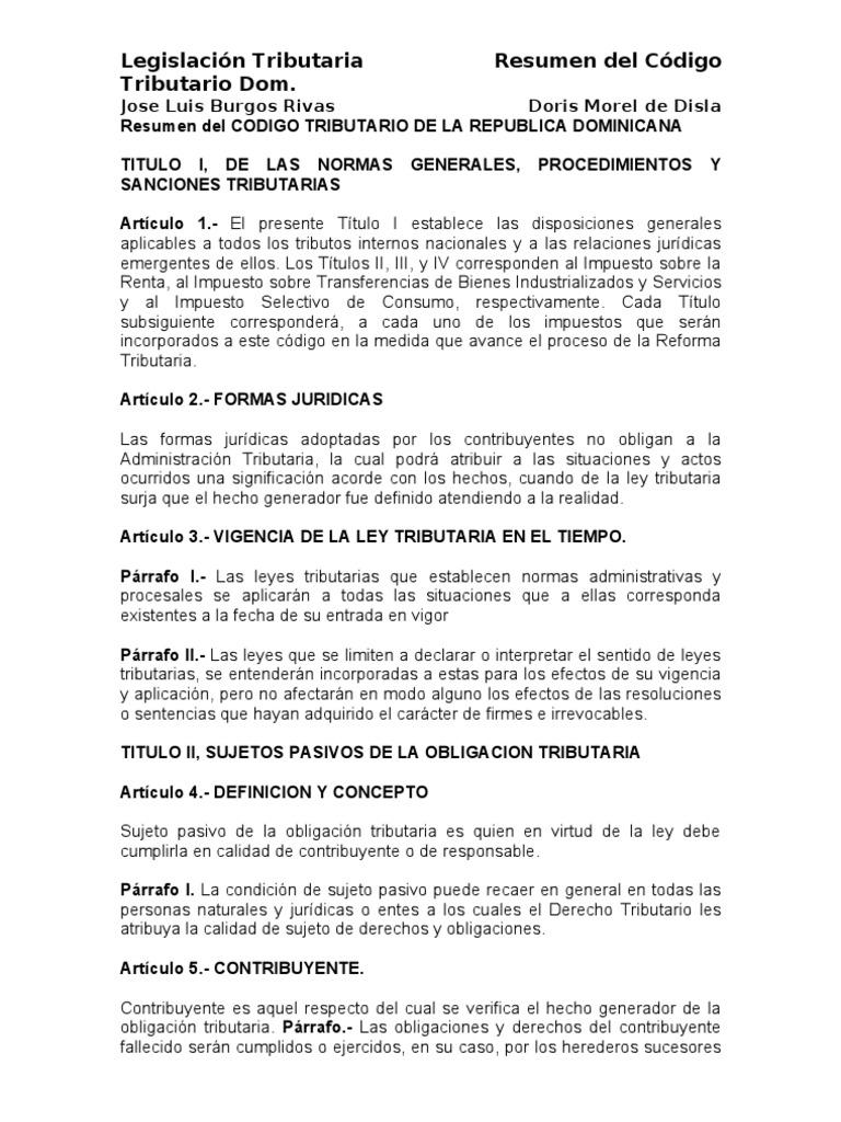 RESUMEN CODIGO TRIBUTARIO DOMINICANO