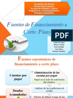 Fuentes de Financiamiento a Corto  Plazo