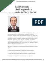 O desenvolvimento sustentável segundo o economista Jeffrey Sachs