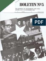 Conferencia Mundial de Solidaridad con Chile. Por Chile. Boletín N°5