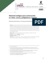 Material ecológico para construcción en vidrio, arena y poliplásticos (vapoli)