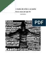 Distintos Modos de Evitar a Un Poeta Poesia Cubana Del Siglo Xxi