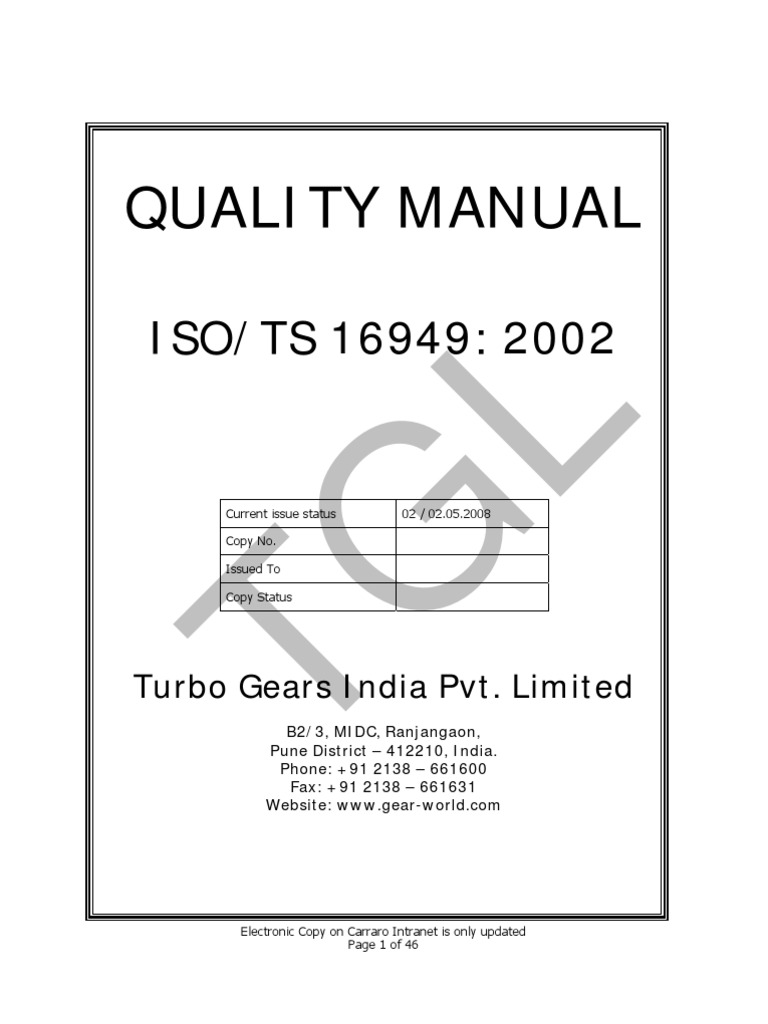 Quality Manual - Stamped   Quality Management System   Quality Management