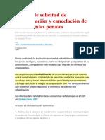 Escrito de Solicitud de Rehabilitación y Cancelación de Antecedentes Penales