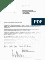 Courrier d'Éric Straumann à Éric Dupond-Moretti, ministre de la Justice