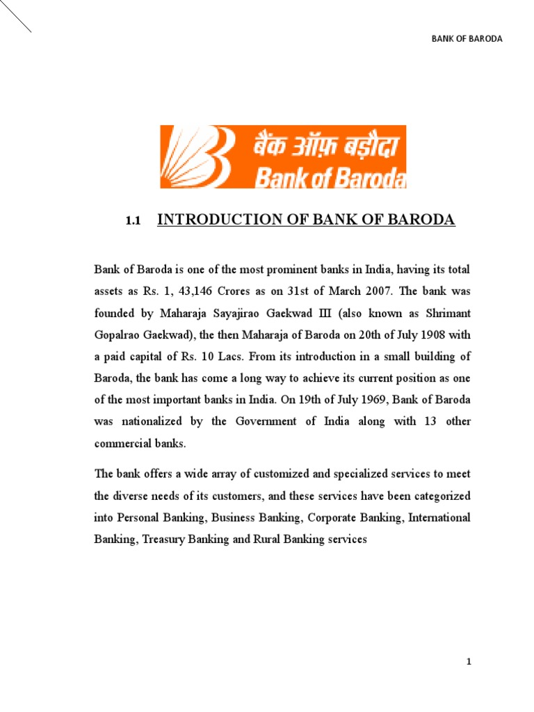 introduction of bank of baroda