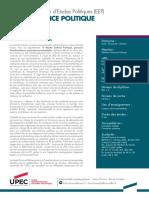 MASTER SCIENCE POLITIQUE PARCOURS  Transformations socio-environnementales