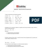 Lista Reações Químicas Balanceamento Estequiometria