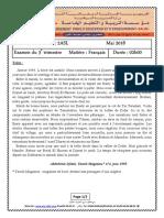 Examen corrigé français al 2as (2018-1) Trimestre 3 ختبار الفصل الثالث في اللغة الفرنسية