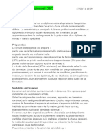 Le brevet professionnel BP