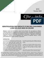 Nif n°3 - Identification des défauts d'uni des chaussées lors MO