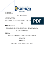 Investigación_PROCESAMIENTO Y APLICACIÓN DE LOS VIDRIOS