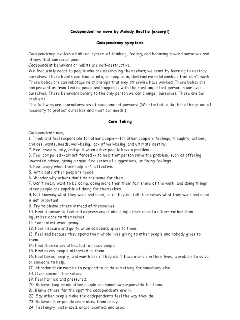 Codependency Symptoms - Melanie Beattie | Anger | Self-Improvement