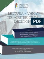 Van y Tir - Criterios de Decisión